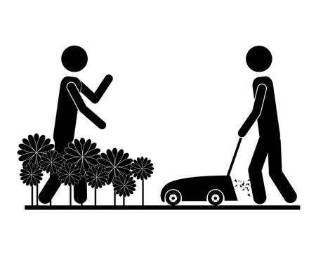 tuinontwerp: Garden design over white background, vector illustration Stock Illustratie