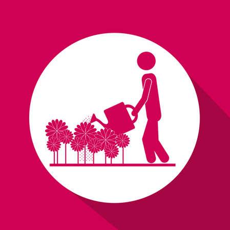 garden design: Disegno del giardino su sfondo rosa, illustrazione vettoriale Vettoriali