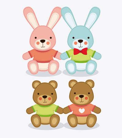 teddy bear background: Baby Shower design over white background, vector illustration