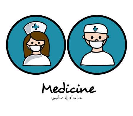 mentors: Medical design over white background, vector illustration Illustration