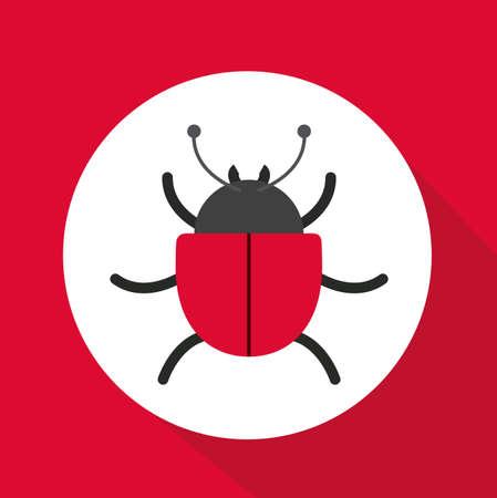 computer worm: Computer worm design over red background, vector illustration