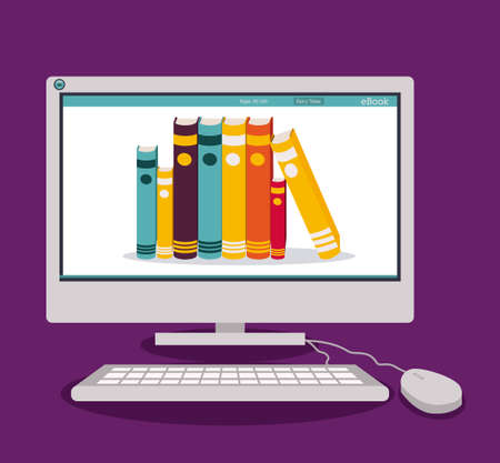 education technology: Ebook design over purple background, vector illustration Illustration