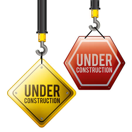 under construction road sign: Under Construction design over white background, vector illustration