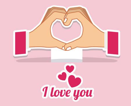 using senses: Hands gesture design over pink background, vector illustration Illustration