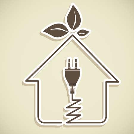 Diseño de ahorro de energía sobre fondo blanco, ilustración vectorial