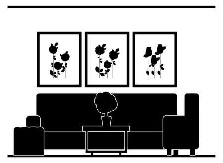 family living room: House areas design over white background, vector illustration Illustration