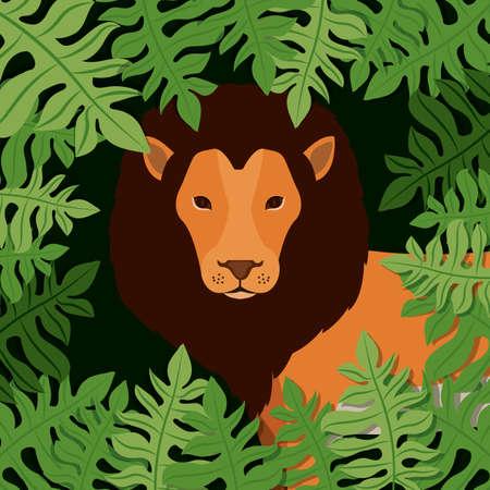Diseño de la selva sobre fondo de paisaje, ilustración vectorial