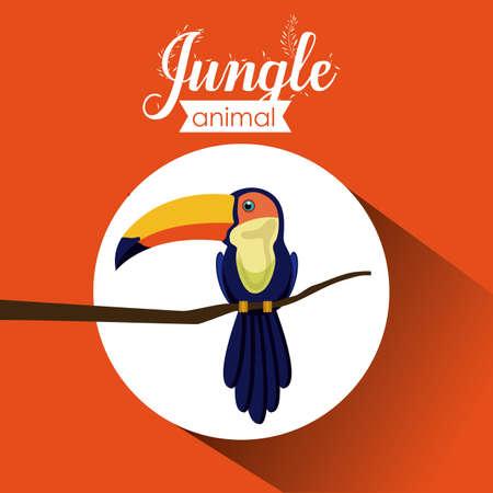 selva: Dise�o de la selva sobre fondo naranja, ilustraci�n vectorial