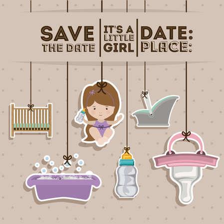 fondo para tarjetas: Dise�o de la ducha de beb� sobre el fondo en colores pastel, ilustraci�n vectorial