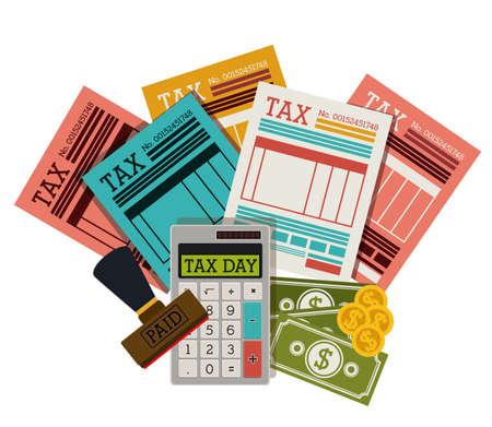 impuestos: Diseño del Impuesto sobre el fondo blanco, ilustración vectorial