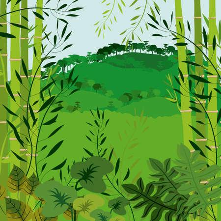 Jungle design over landscape background, vector illustration