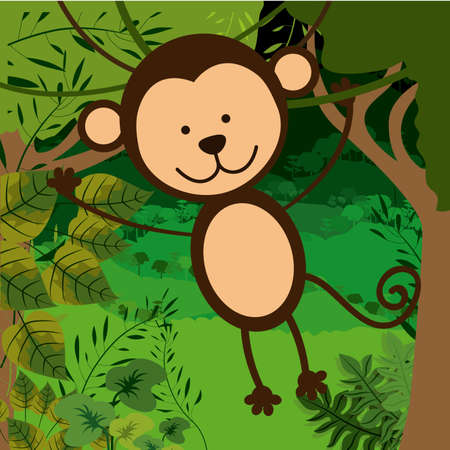 primate biology: Jungle design over landscape background, vector illustration