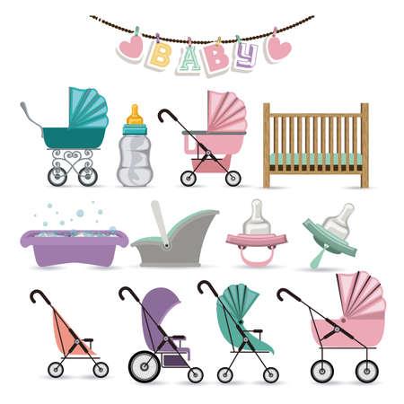 fondo para tarjetas: Dise�o de la ducha del beb� sobre fondo blanco, ilustraci�n vectorial