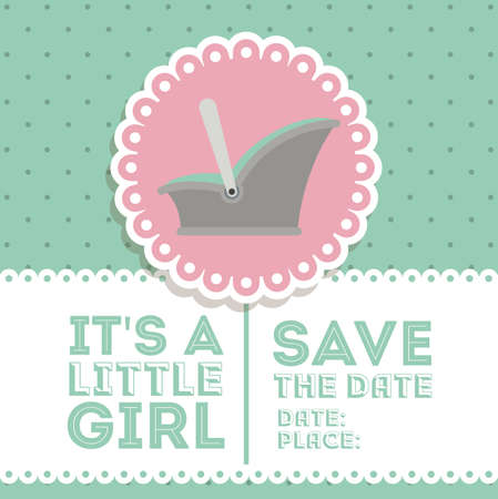 over white background: Baby shower design over blue and white  background, vector illustration