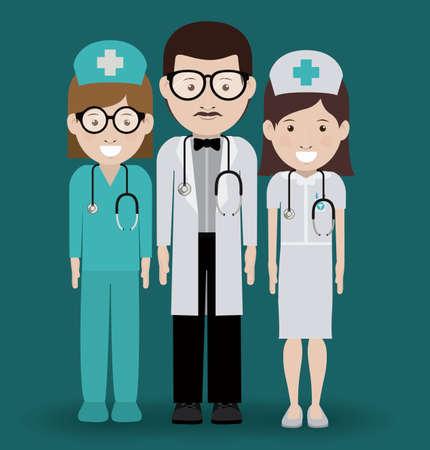 mentors: Health professional design over blue background, vector illustration Illustration