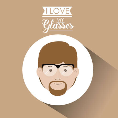 eye wear: Glasses design over pastel background, vector illustration Illustration