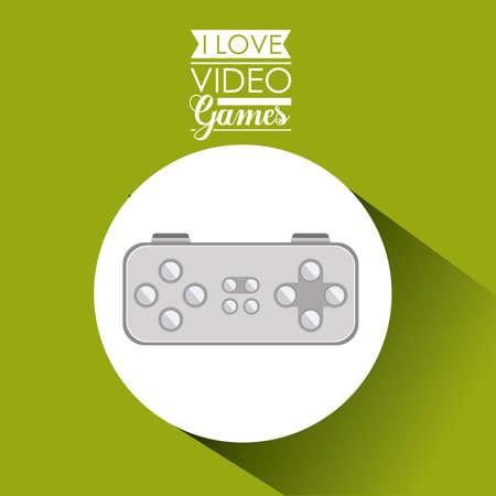 videogame: Video games design over green background, vector illustration