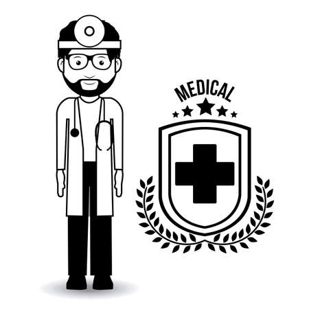 public health services: Doctor  design over white background, vector illustration