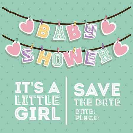 Baby Shower design over pointed background, vector illustration