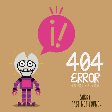 robot with shield: Error design over brown background, vector illustration