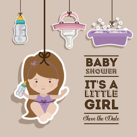 pastel background: Baby shower design over pastel background, vector illustration Illustration