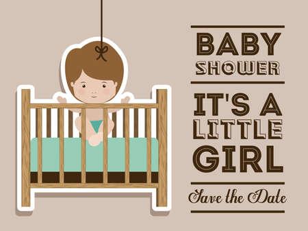 Baby shower design over pastel background, vector illustration Vector