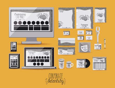 cofee cup: Corporate identity design over orange background, vector illustration
