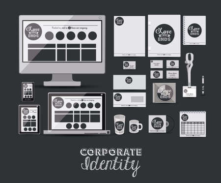 cofee cup: Corporate identity design over black background, vector illustration Illustration