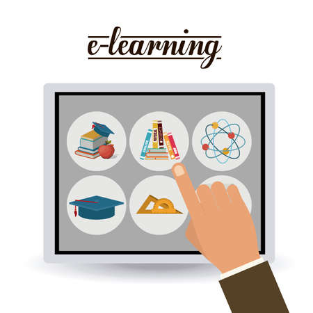 e-learning design over white background, vector illustration Ilustração