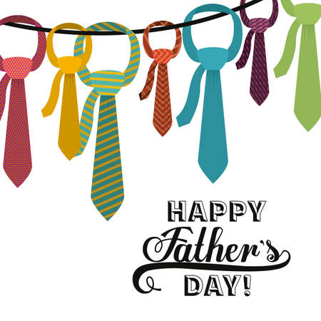 happy fathers day card: fathers day design over white background, vector illustration