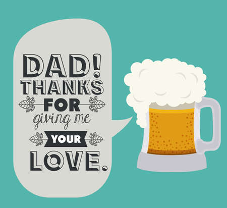 happy fathers day card: fathers day design over blue background, vector illustration