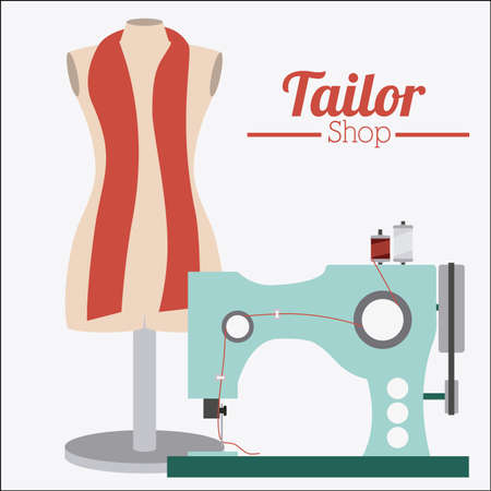 sewing materials: Tailor Shop design over white background, vector illustration