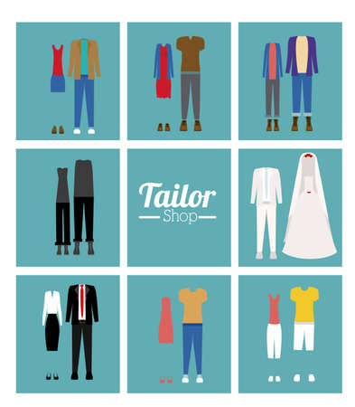 tailored: Tailor Shop design over white background, vector illustration