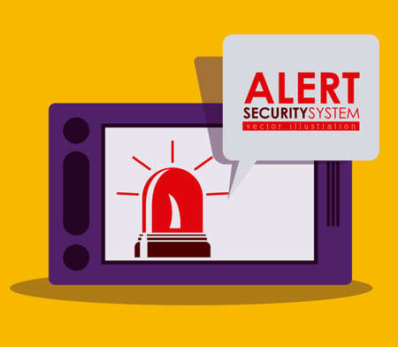 dangerous ideas: Security system design over yellow background, vector illustration