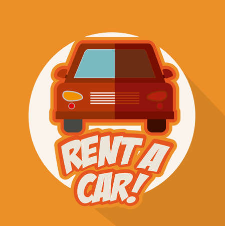 renting: Rent a car design over orange background, vector illustration Illustration