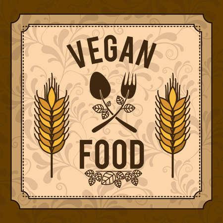 Diseño de la comida orgánica sobre fondo marrón, ilustración vectorial