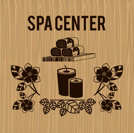 rekolekcje: Spa center design over wood background, vector illustration Ilustracja