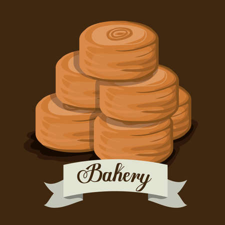 fond brun: conception de boulangerie sur fond brun, illustration vectorielle