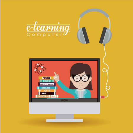 learning: e-learning design over yellow background, vector illustration Illustration
