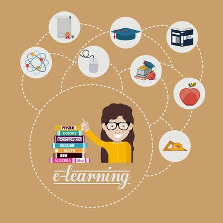fond brun: e-learning conception sur fond brun, illustration vectorielle Illustration