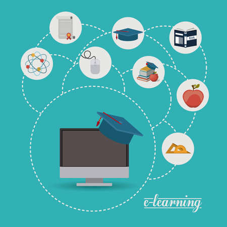 of computer graphics: e-learning design over blue background, vector illustration Illustration
