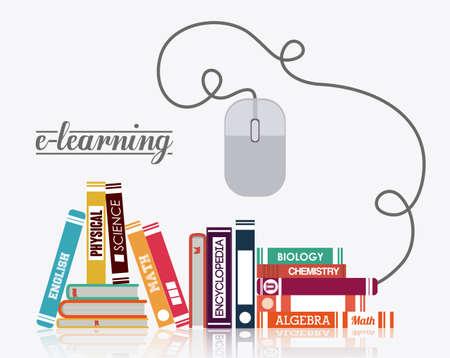 e-learning design over white background, vector illustration Vettoriali