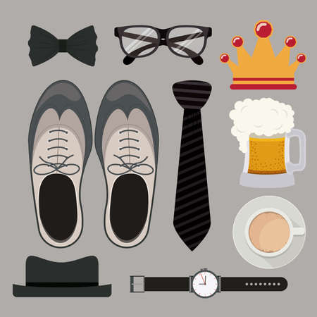 necktie beer: fathers day design over white background, vector illustration