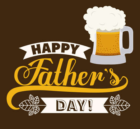 happy fathers day card: fathers day design over brown background, vector illustration