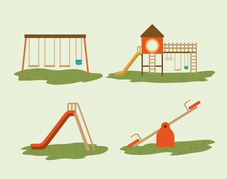 Projekt Plac zabaw na białym tle, ilustracji wektorowych