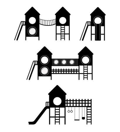 Speeltuin ontwerp op een witte achtergrond, vector illustratie Stock Illustratie