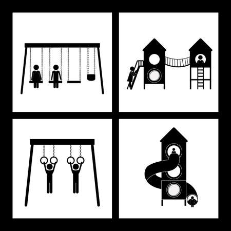Playground design over black background, vector illustration  イラスト・ベクター素材