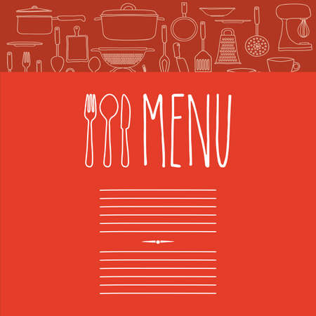 recipe card: Cook icon design over red background, vector illustration Illustration