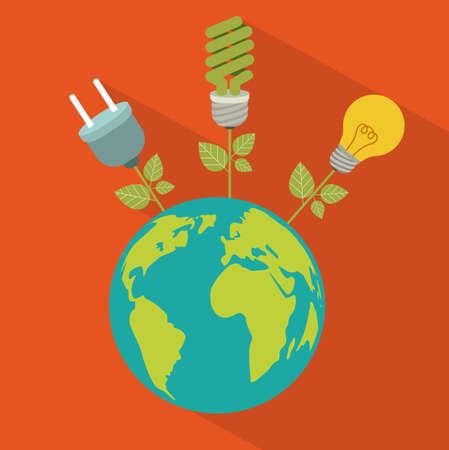 ahorro energia: Diseño de ahorro de energía sobre fondo naranja, ilustración vectorial