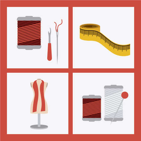 tailored: Tailor Shop design over red background, vector illustration Illustration